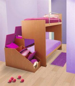 Letto a castello scorrevole con letto indipendente